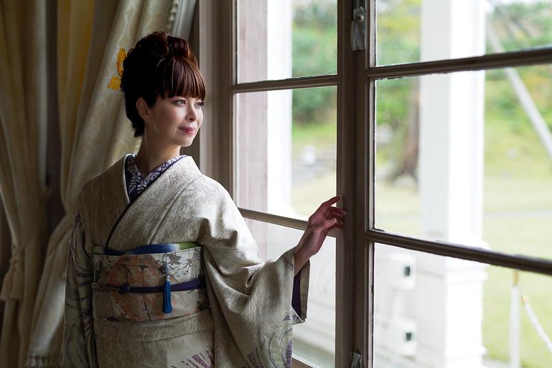 A portrait wearing a kimono.