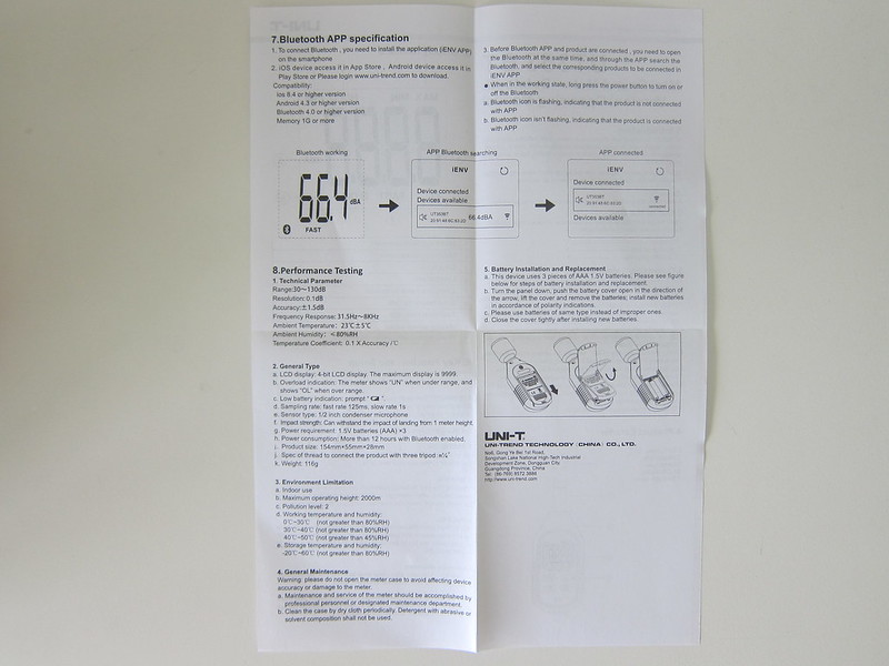 UNI-T Mini Sound Lever Meter (UT353BT) - Instructions #2