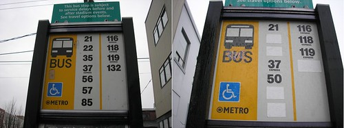 NB 1st and Lander King County Metro bus stop sign