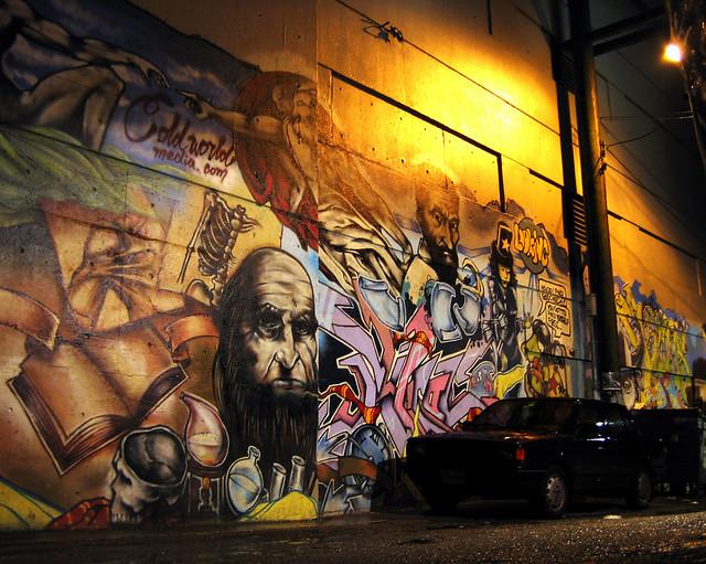 Alley Mural Getaway Black Car