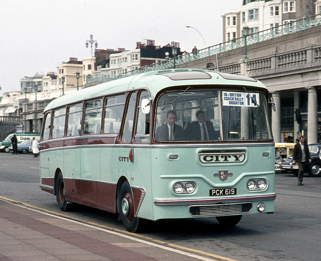 City Coach Lines . East London . PCK619 . Madeira Drive , Brighton , Sussex . Saturday 18th-April-1970 .