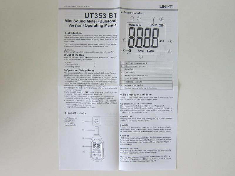 UNI-T Mini Sound Lever Meter (UT353BT) - Instructions #1