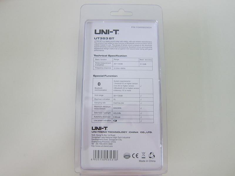 UNI-T Mini Sound Lever Meter (UT353BT) - Packaging Back