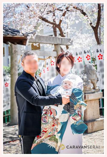 お宮参り 満開の桜 名古屋市の神社へご参拝
