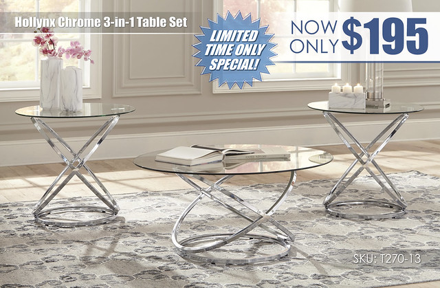 Hollynx Chrome Table Set_T270-13