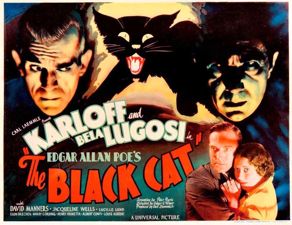 "Boris Karloff and Bela Lugosi in Edgar Allan Poe's ""The Black Cat"", film poster, 1934."