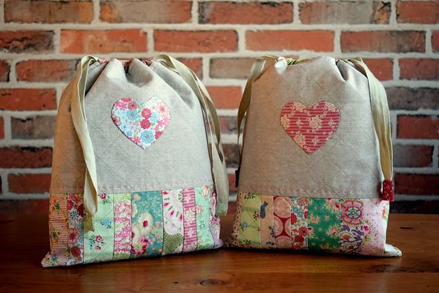 Scrappy Heart Drawstring Bags