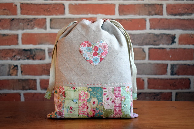 Scrappy Heart Drawstring Bags