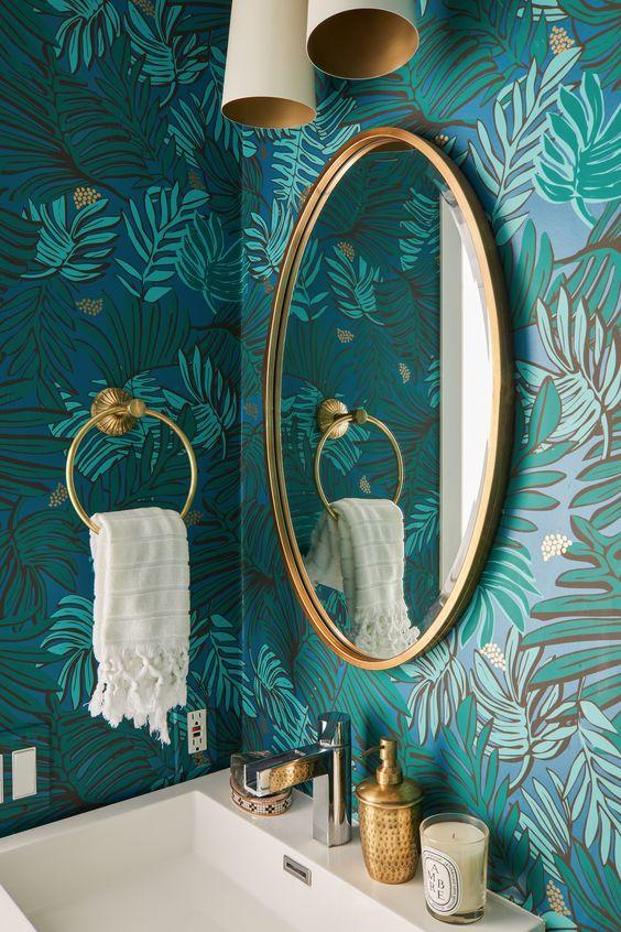 Blue Green Teal Palm Print Wallpaper | California Cool Bathroom Inspiration | Colorful Wallpapered Bathroom | Blue Powder Room Ideas | Gold and Blue Bathroom