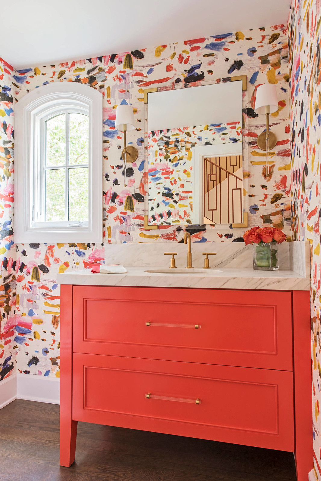 Colorful Bathroom Inspiration | Paint Swatch Wallpaper | Wallpapered Bathroom Ideas | Coral Bathroom Vanity | Vibrant Color Powder Room