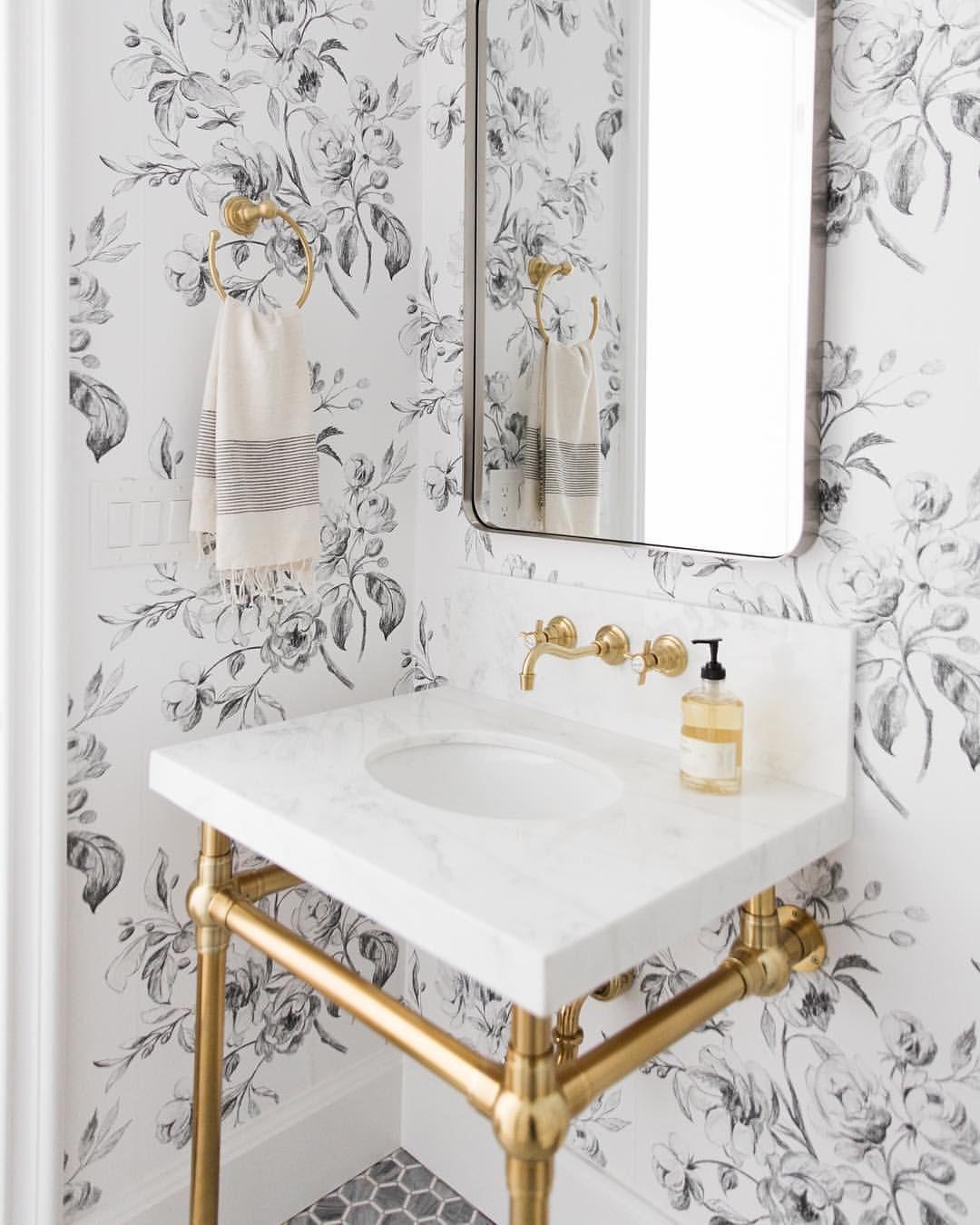 Farmhouse Bathroom Inspiration | Gold Apothecary Sink | Black White Flower Wallpaper Bathroom | Floral Wallpapered Bathroom Ideas