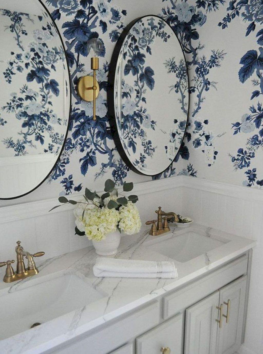 Girls Bathroom Ideas | Blue Floral Wallpaper | Blue Flower Wallpaper | Beautiful Floral Wallpapered Bathroom Inspiration