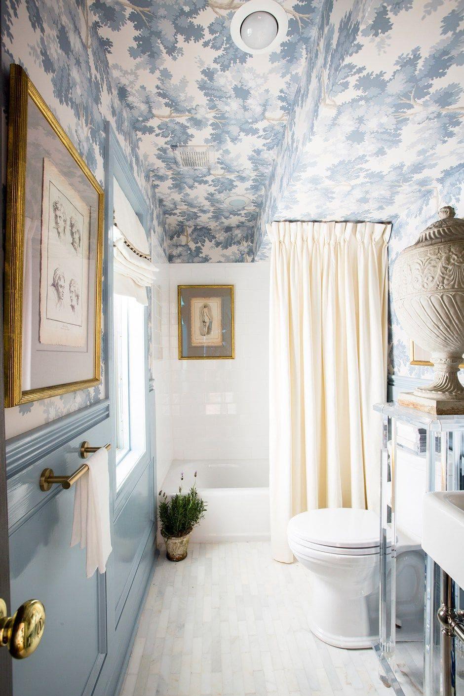 Pale Blue Wallpaper Ceiling | Southern Inspired Antique Bathroom Inspiration | Powder Blue Bathroom