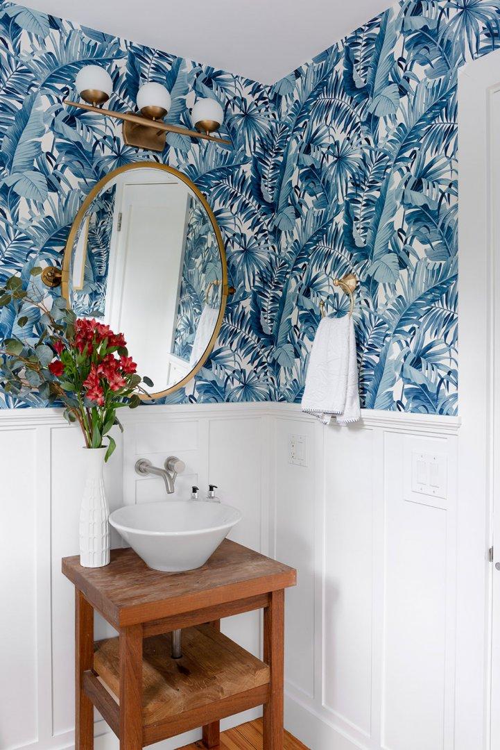 Blue Palm Print Wallpapered Bathroom | Newport Beach California Bathroom Inspiration | Beachy Powder Room Ideas | Beach House Bathroom Ideas | Blue Palm Wallpaper