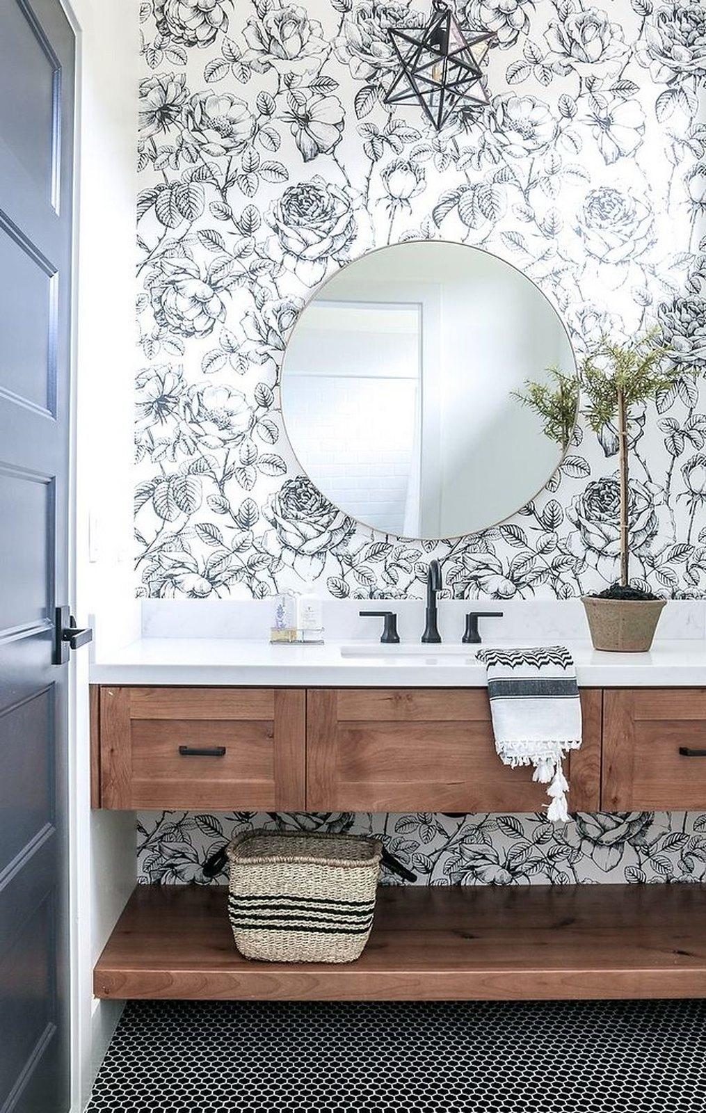 Farmhouse Bathroom Inspiration | Black White Flower Wallpaper Bathroom | Floral Wallpapered Bathroom Ideas
