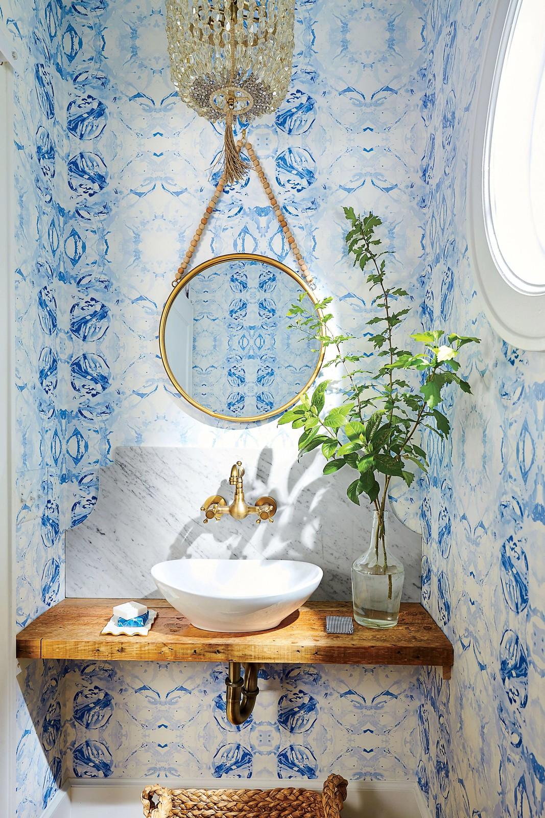 Abstract Blue Wallpapered Bathroom | Beachy Boho Bathroom Inspiration | Eclectic Colorful Bathroom | Blue Powder Room Ideas