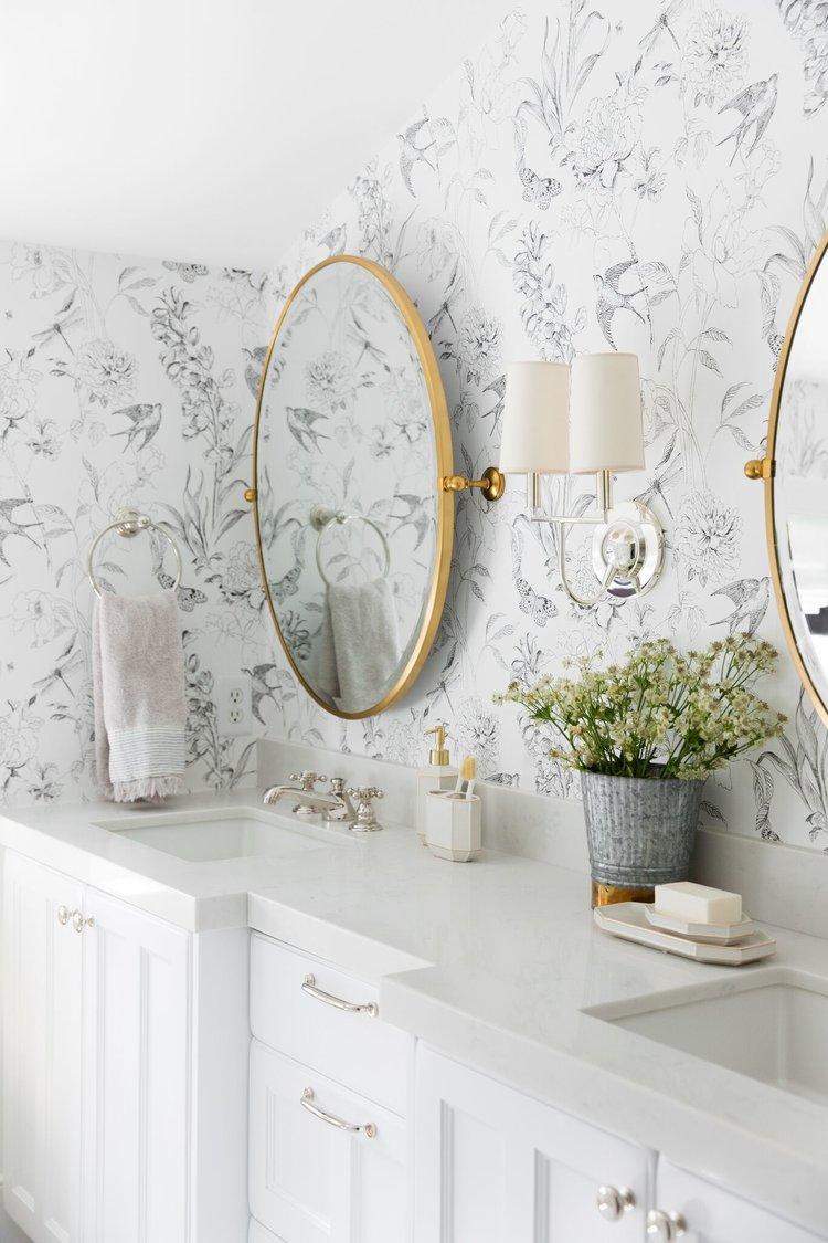 Black White Subtle Bird Flower Wallpaper | Wallpaper Bathroom Inspiration | Wallpapered Bathroom Ideas | White and Gold Bathroom | Light Airy Powder Room