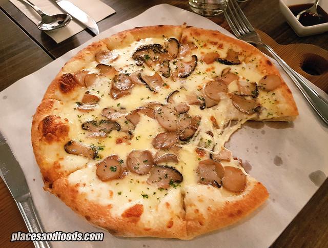 farm to plate roasted mushroom pizza