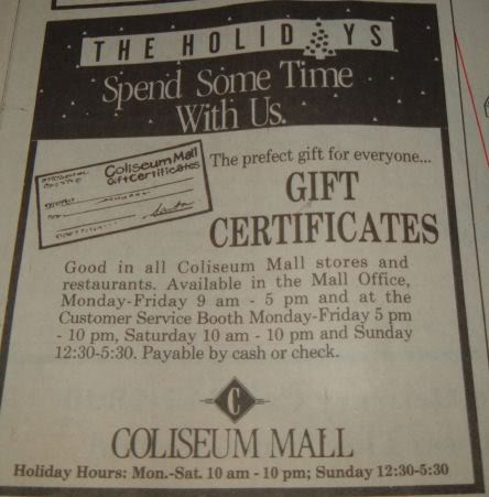 Coliseum Mall Gift Card, 1989 or 1990