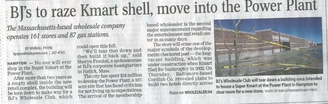 BJs moving into Power Plant Article, 2006 (Hampton, VA)