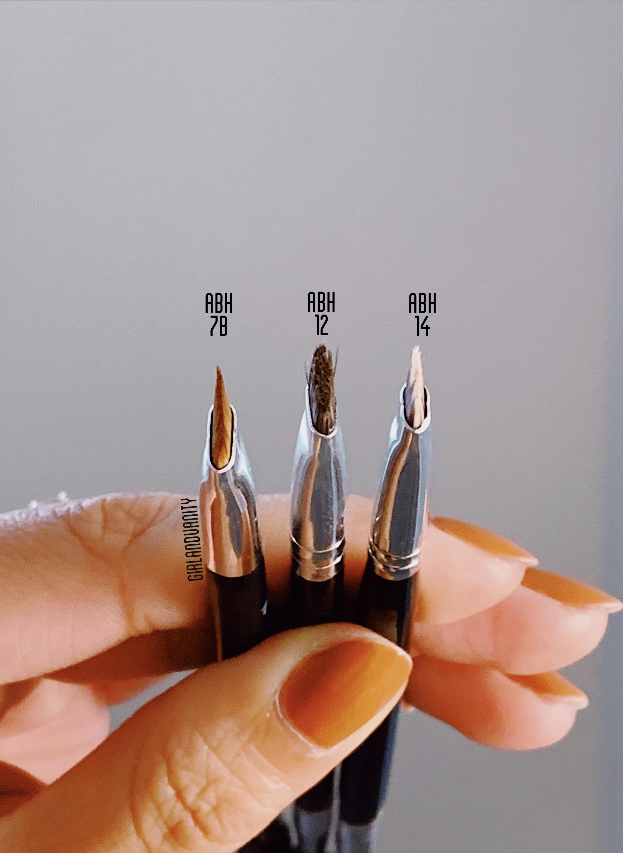 ABH brow brush 12 vs 14 vs 7B