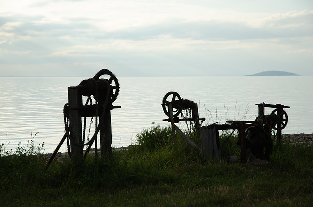 Old winch silhouettes