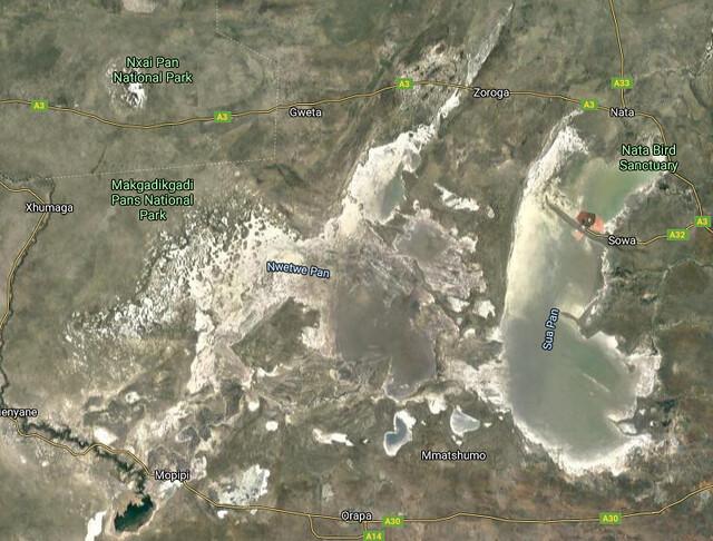 Vista desde el satélite de los salares de Makgadikgadi (¿Qué ver en Botswana?)