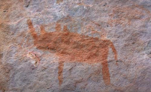 Rinoceronte pintado en Tsodilo Hills, una de los lugares de arte rupestre más importantes de África