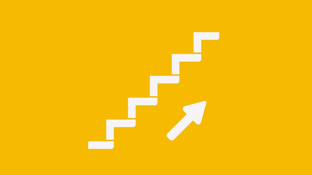 A graphic of stairs and an arrow pointing upwards