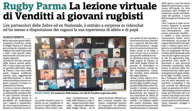 Gazzetta di Parma 22.04.20 - RPFC a Casa Tua- Videoconferenza con Giamba Battisti