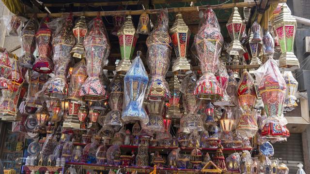Egyptian Handmade Ramadan Lanterns hanging for sale in Cairo
