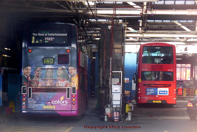 Metroline Harrow Weald garage shows VP626 in the bus wash and  VW1244 looking like its waiting for enginnering attention