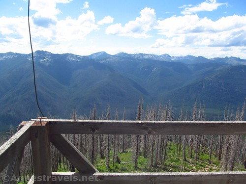 Views west from the platform around the Berray Mountain Fire Lookout, Cabinet Mountains Wilderness, Montana