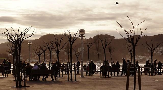 Evening in Donostia - San Sebastian - in the Parque Alderdi Eder overlooking the Bahía de La Concha