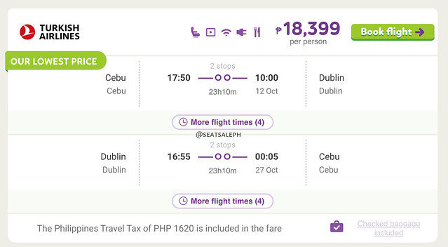 Turkish Airlines Cebu to Dublin Promo