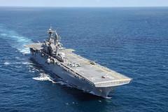 USS Makin Island (LHD 8) operates in the eastern Pacific in April. (U.S. Navy/MC3 Jacob D. Bergh)