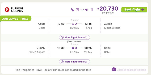 Cebu to Zurich Turkish Airlines Promo