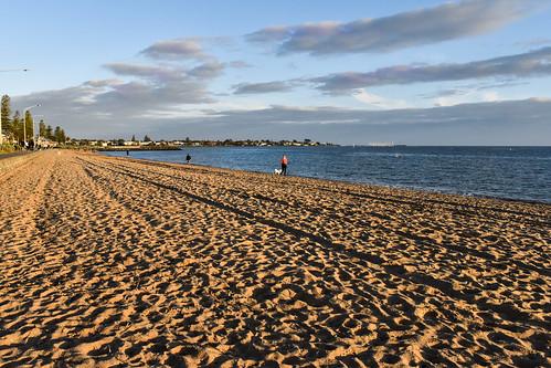 elwood beach melbourne sunset clouds people shadows australia victoia portphilipbay water sea sky sand dog