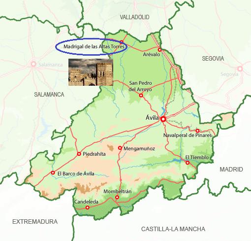 Mapa de situación de Madrigal de las Altas Torres