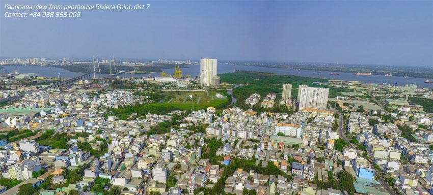 View hướng Đông: góc nhìn toàn cảnh sông Sài Gòn, cầu Phú Mỹ, công viên mũi Đèn Đỏ.