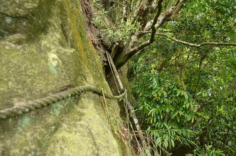巨石裸岩拉繩越崚段