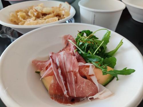 Parma ham and mafalde cacio e pepe