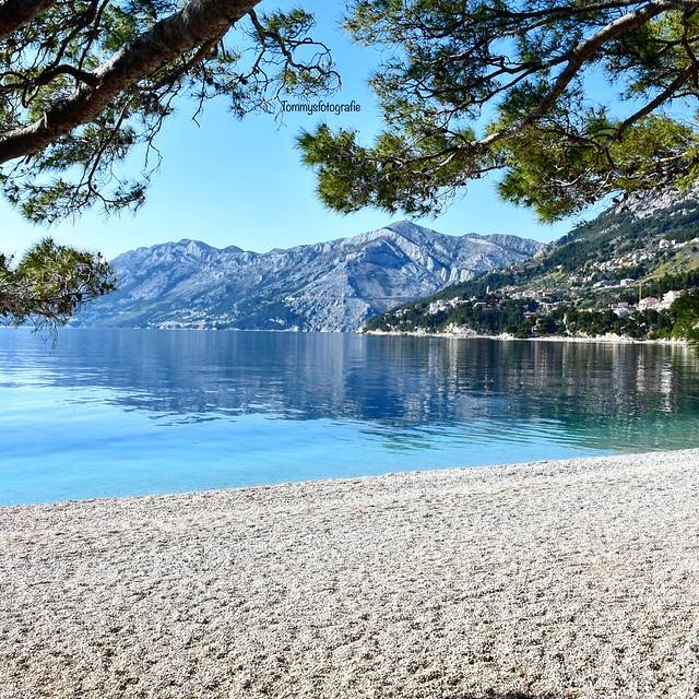 The empty beach of Brela, photo taken in April 2019 Croatia