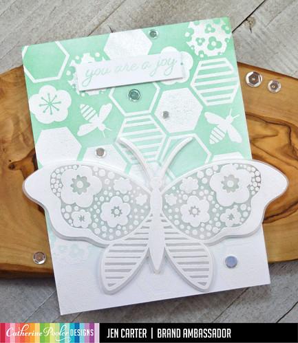 Beehive Background Wings of Joy White Embossed JDC