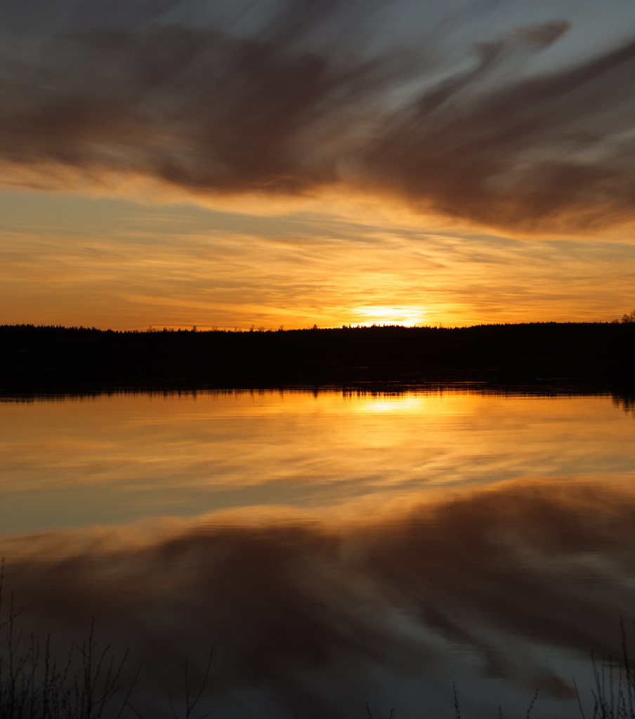 Sunset mirroring the lake
