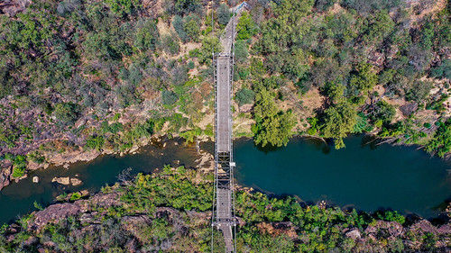 bridge australia nsw trees damage abandoned road dji suspensionbridge tree nepeanriver djimavic2pro drone disused river fire water maldon