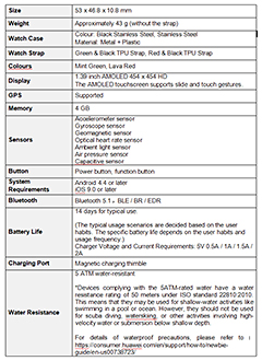 Tech specs for the Huawei Watch 2e. Click to enlarge.