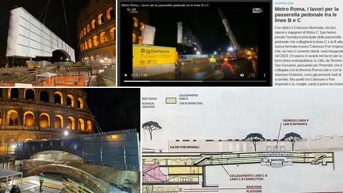 ROMA ARCHEOLOGIA E RESTAURO ARCHITETTURA. Metro Roma, i lavori per la passerella pedonale tra le linee B e C. La Repubblica / Video (23/04/2020).