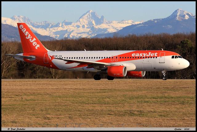 AIRBUS A320 214 easyJet HB-JYA 4250 Genève février 2020