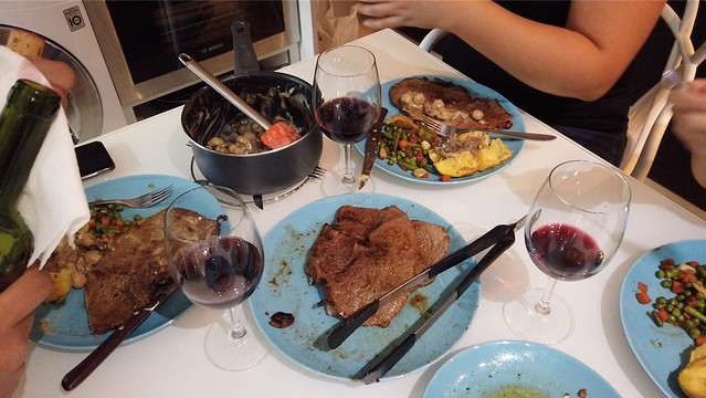 Home-cooked steak, veggies, and some wine in Encamp, Andorra
